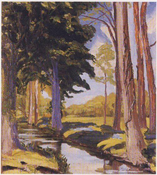 Moat At Breccles By Winston Churchill Art Churchill