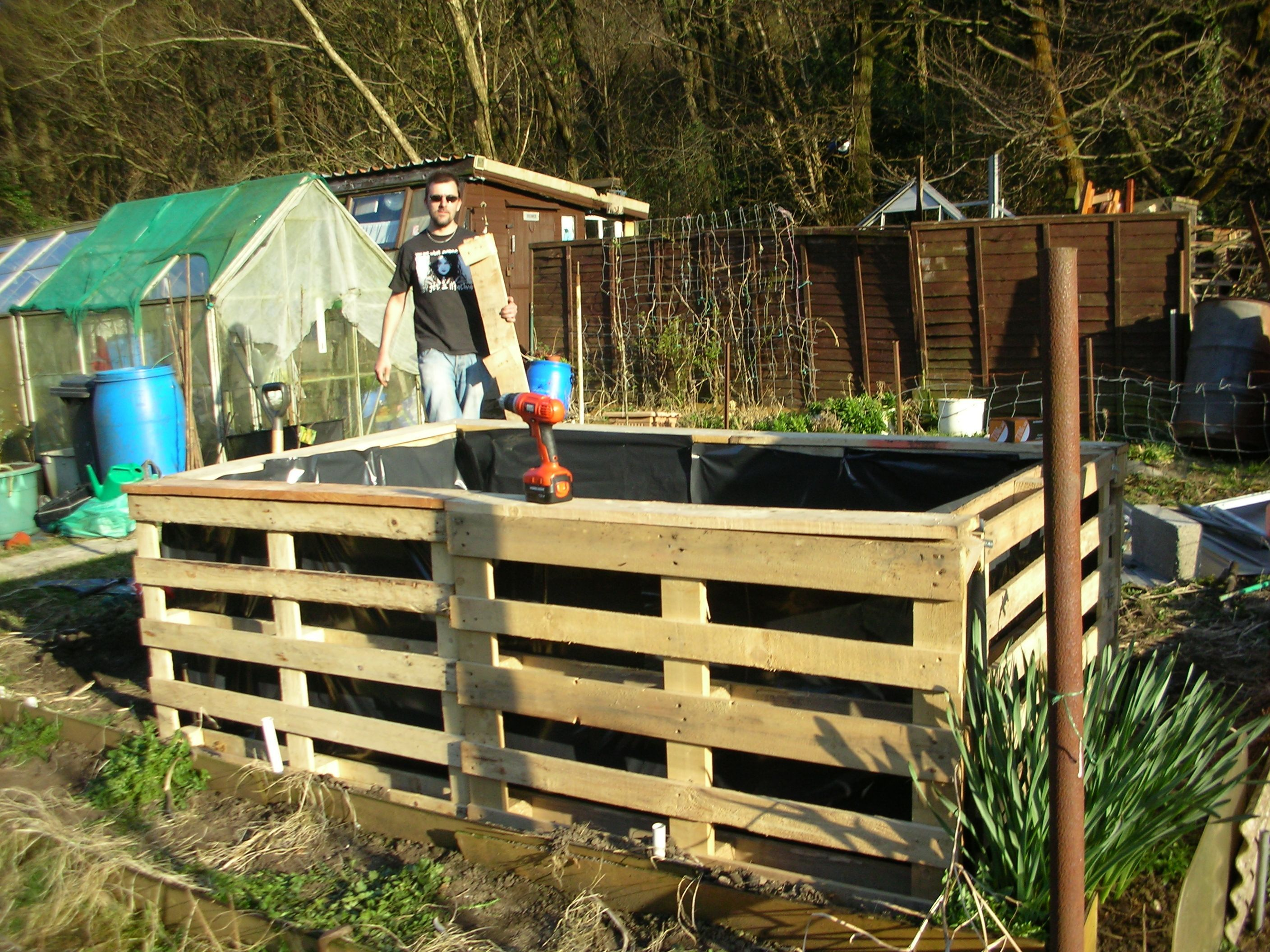 Pallet Raised Bed Pallets Joined Together Lined With Refuse