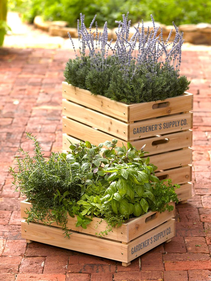 Herb Box Wooden Crate Planter With Liner Gardener S Supply