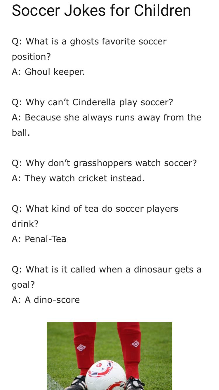 Soccer Puns Soccer Jokes Dad Jokes Play Soccer