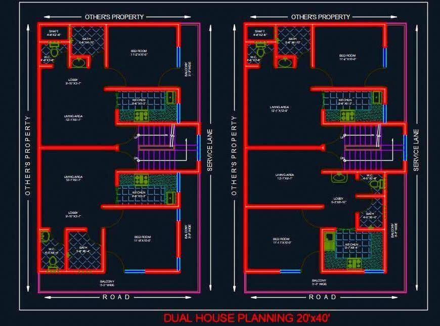Dual House Planning Floor Layout Plan 20 X40 Dwg Drawing House Plans Home Design Floor Plans 2bhk House Plan