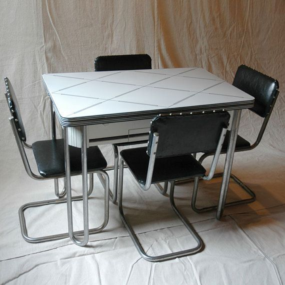Black Kitchen Chairs For Sale: Black And White Enamel Top Kitchen Table With 4 Chairs By