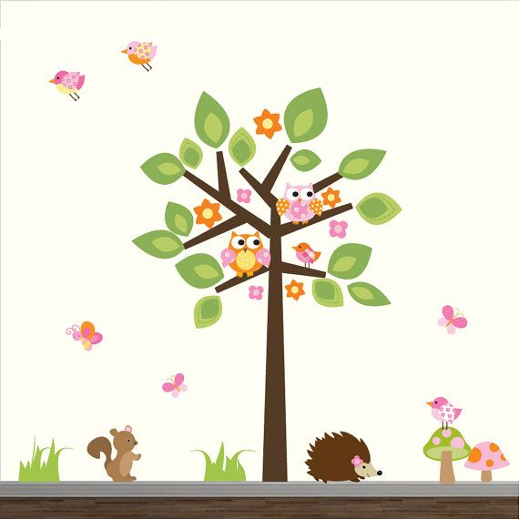 Wall Decals Tree with Animals-Nursery Wall Decal door Modernwalls