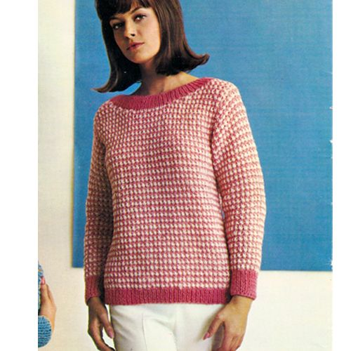 Easy Boat Neck Checked Sweater Knitting Pattern Sweater Knitting