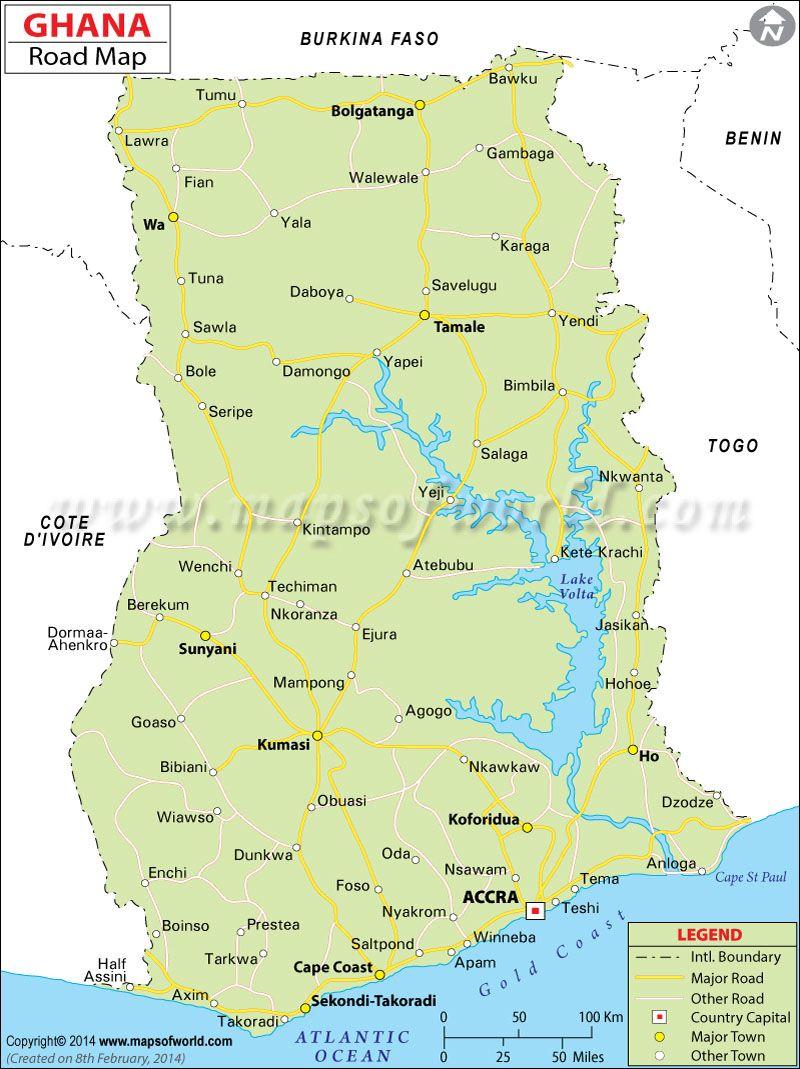 Ghana Road Map  ghana  Pinterest  Ghana Capital city and Africa