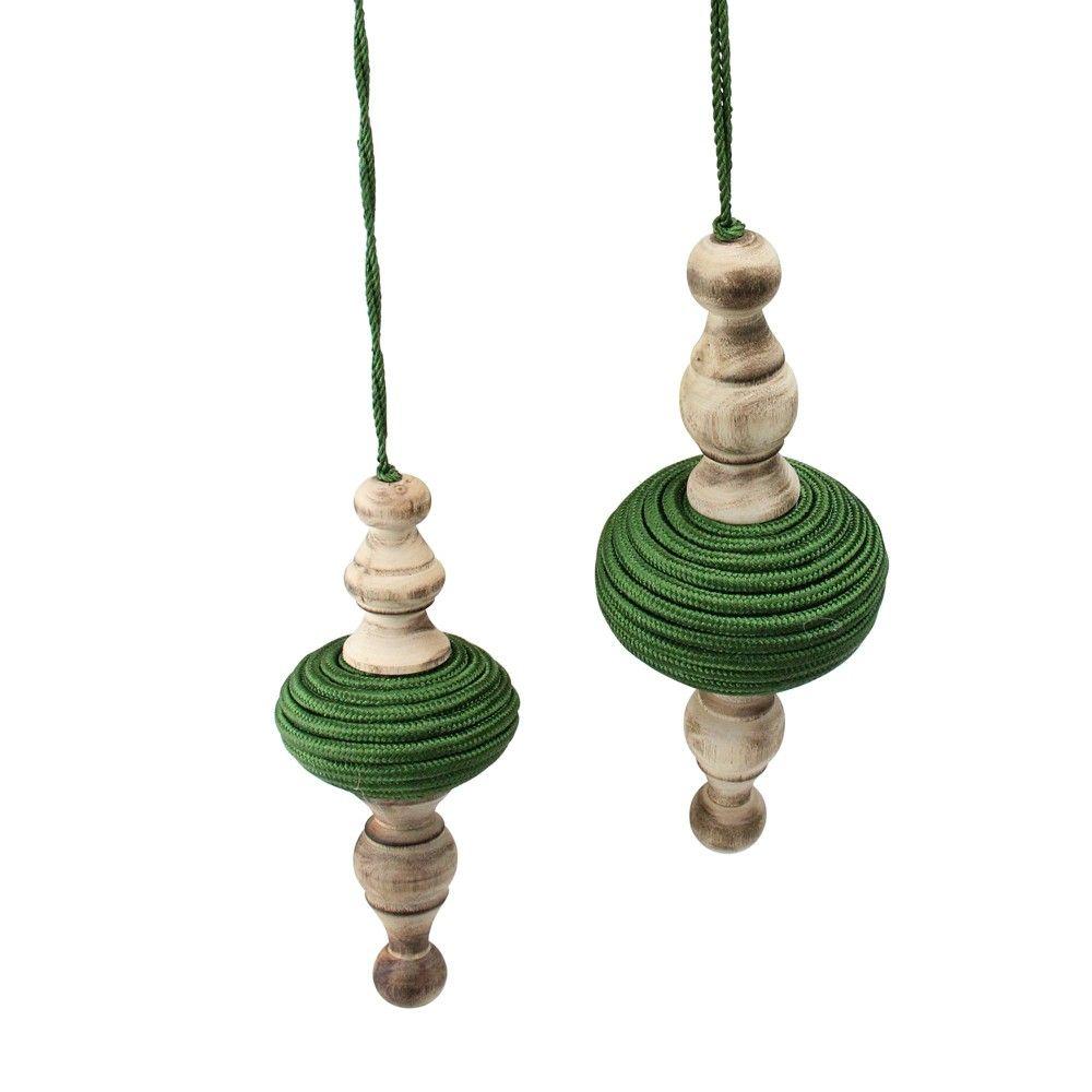 Melrose 2ct Wooden Finial Drop Christmas Ornament Set 9 Green Beige In 2021 Christmas Ornament Sets Christmas Ornaments Wood Christmas Ornaments