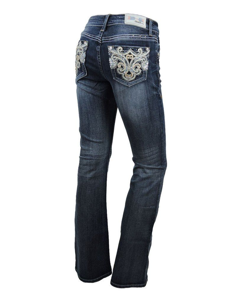 bc2609256b6 Grace L.A. Idol Women Bootcut Jeans Fleur Leather Bold Stitching Stretch Dark  Blue     For more information