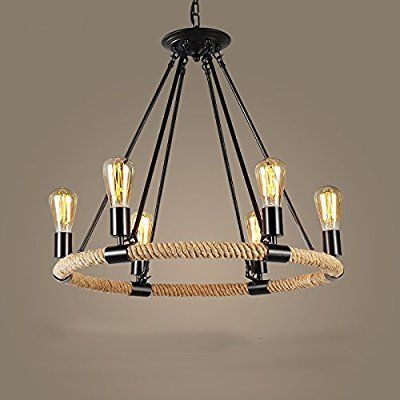 FGHOME Vintage Industrial Hemp Rope Living Room Chandelier Fixtures Retro Dining Pendant Lamp Bedroom Personality