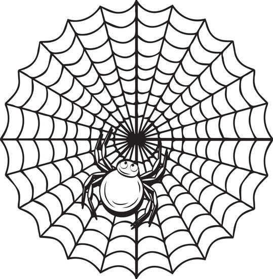 Printable Halloween Spider Web Coloring Page For Kids Coloring