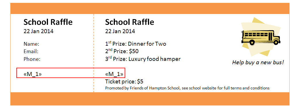 instructions for creating numbered raffle tickets in word or
