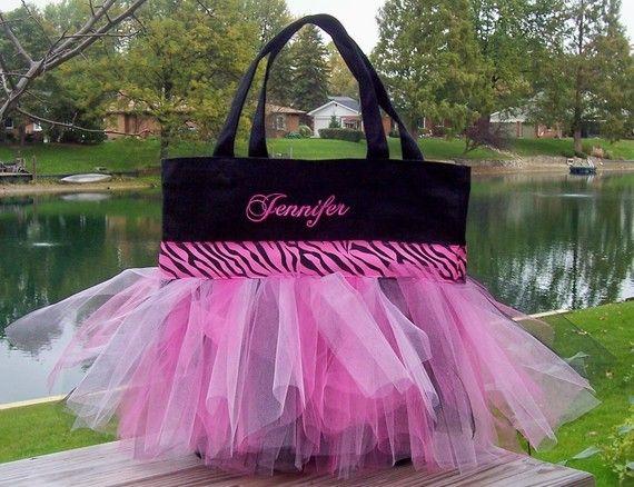 Danza bordados bolsa - bolso negro con rosa y negro Zebra RibbonTutu bolsa - TB86 - EST
