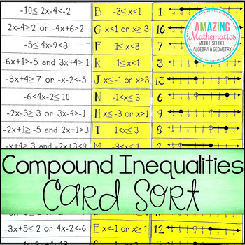 Compound Inequalities Card Match Activity With Images Compound