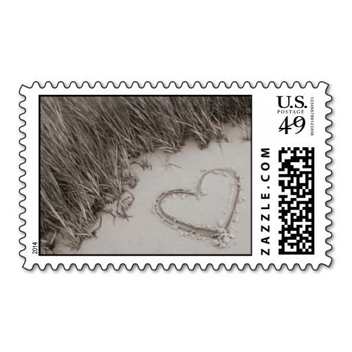 Heart Sepia Image Postage Stamps