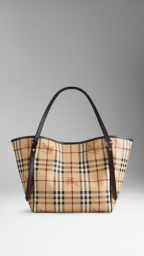 The Small Canter in Haymarket Check from Burberry - A tote bag in coated  canvas Haymarket check with leather trim. Inspired by vintage designs c34b012a3fa43
