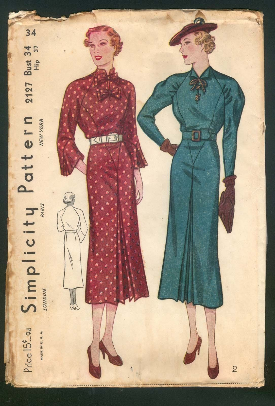 1930 simplicity pattern 2127 ladies dress with double bows and 1930 simplicity pattern 2127 ladies dress with double bows and raglan sleeve jeuxipadfo Choice Image