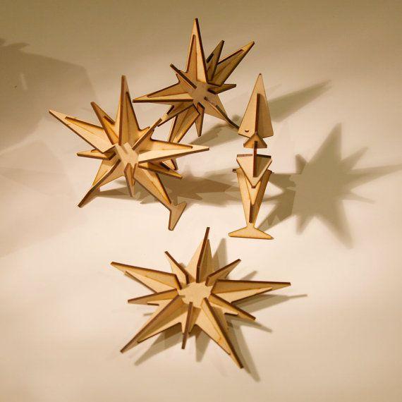 En bois 3x Stars Laser Cut MDF bois étoile arbre de Noël Décoration Craft Blanks