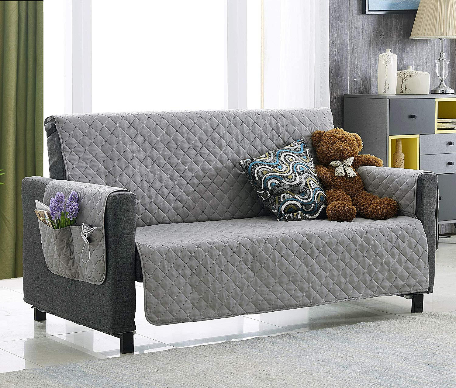 Argstar Couch Cover With Storage Pockets For Dogs Protector Sofa Slipcover Gray Kitchen Sofa Ideas Of Kitchen Slipcovered Sofa Couch Covers Oversized Couch