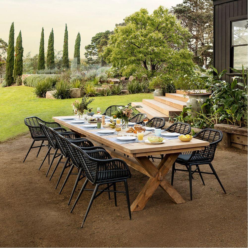 Reclaimed Teak Cross Leg Dining Table 4000mm Outdoor Dining Tables Outdoor Outdoor Dining Backyard Dining Teak Dining Table