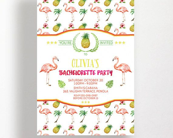 flamingo bachelorette party invitation printable digital hens night