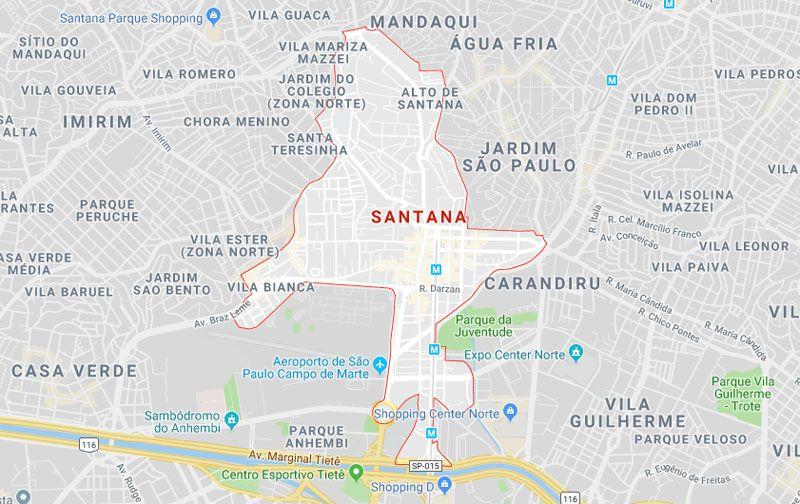 Bairro Santana Sp Sao Paulo Norte Map