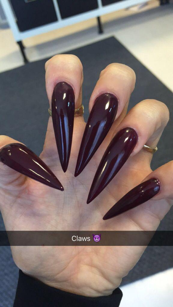 Long stiletto nails. Dark red. Claws claw clawnails. Stilettos ...