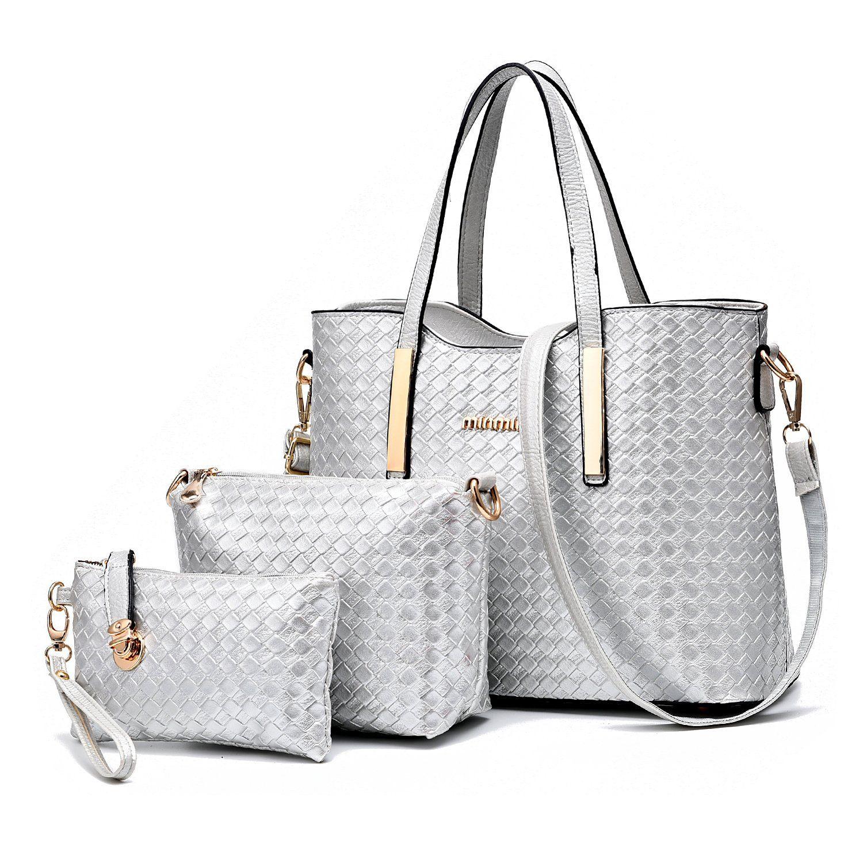 Amazon.com  Tibes Fashion PU Leather Women Handbag+Shoulder Bag+Purse 3pcs 76241cd3f5367