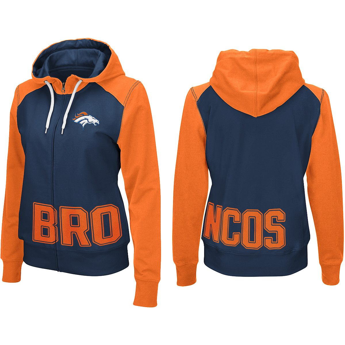 Women's Denver Broncos Majestic Orange Tame The Tide Full Zip Hoodie