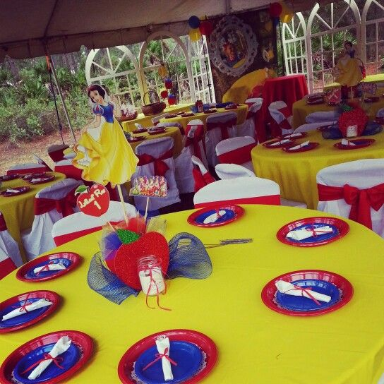 Snow White colored table linens chair covers and sashes. Along with plate wear rolled silverware and center pieces. & Snow White colored table linens chair covers and sashes. Along ...