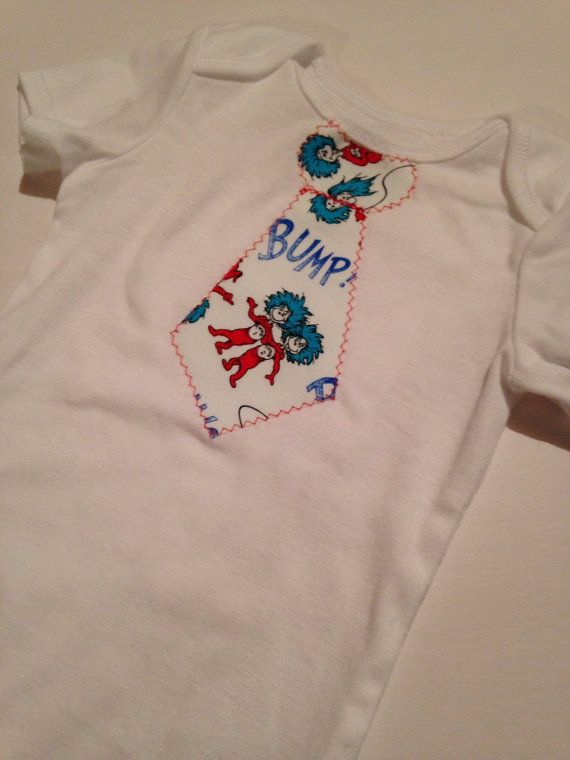 Thing One Thing Two Dr Seuss tie on onesie by BrikayDesigns, $12.00