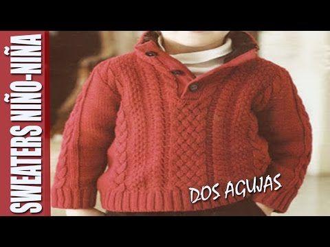 a2d086d4c Sweaters para NIÑO-NIÑA en dos agujas - YouTube | Tejer agujetas ...