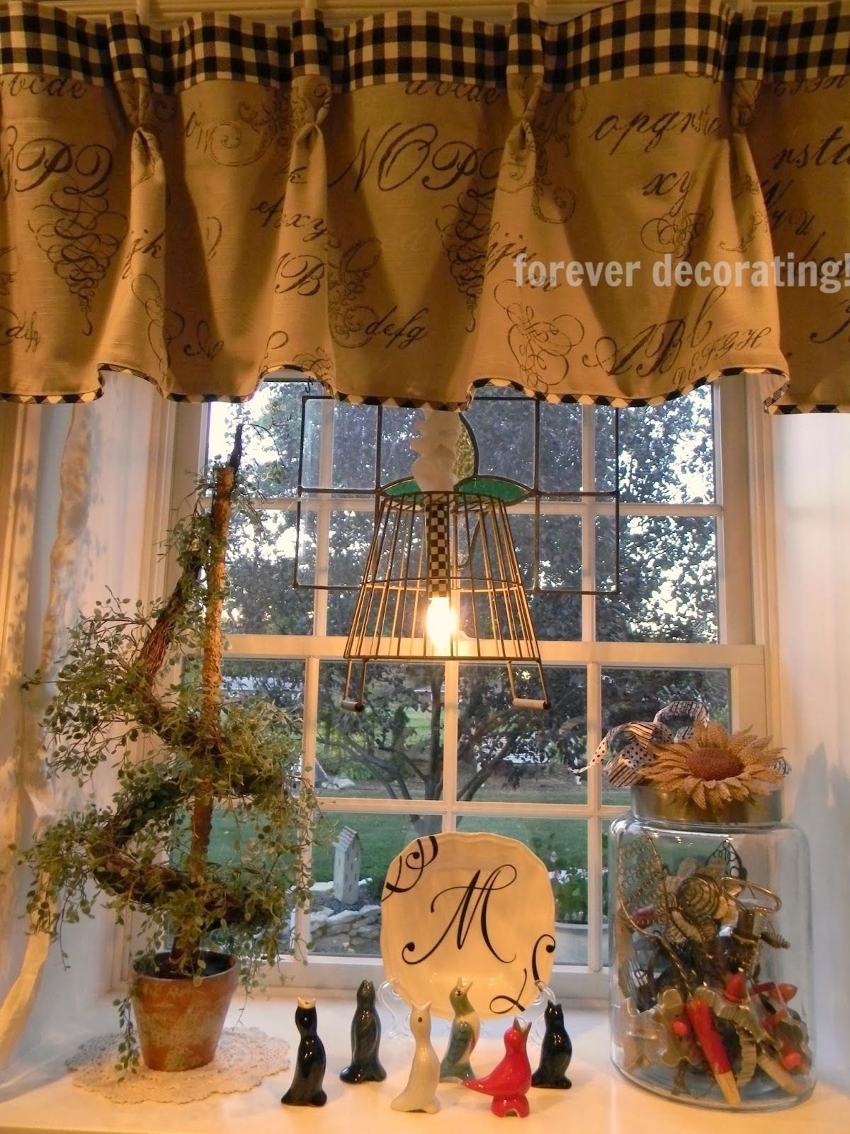 fabric pottery and hung interlined striped banding cotton on pin toile from with flat barn hem valance valances in