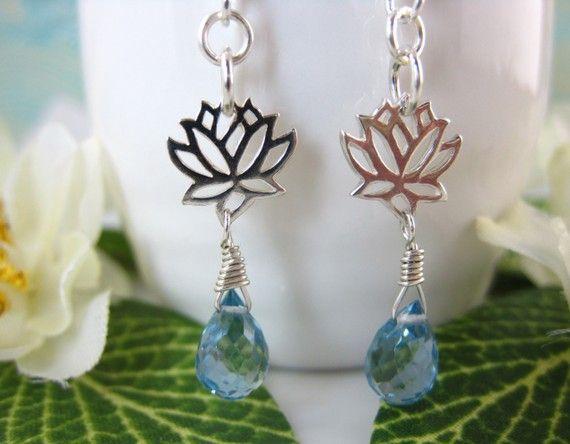 Silver lotus Swiss blue quartz dangle earrings by KBlossoms, $45.00