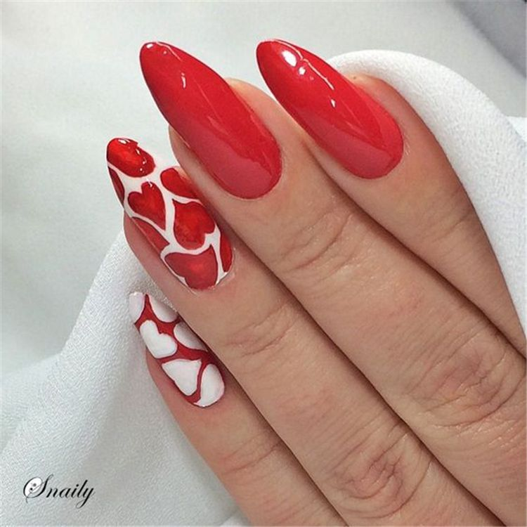 40 Romantic Valentine S Day Nail Art Designs Heart Shape Nails Tips In 2020 Red Nail Art Designs Nail Designs Valentines Valentines Nails