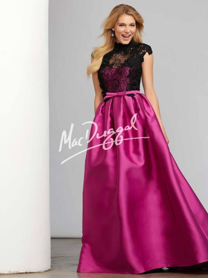 Magenta Ball Gown   Black Lace   Mac Duggal 7548C   Vestidos de ...