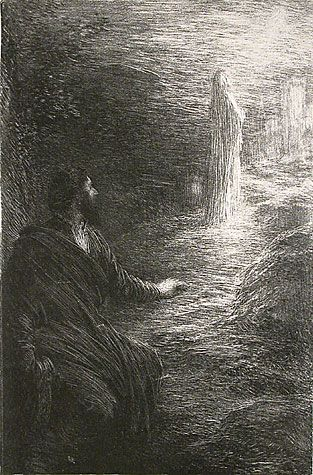 Henri de Fantin-Latour. Tannhauser: Act III - L'Etoile du Soir. One of 14 lithographs printed for <em>Richard Wagner, sa Vie et ses Oeuvres</em> written by Adolphe Jullien. Published by Librairie de l'Art, Paris, 1886. Lithograph. printed chine colle. Printed by Chez Lemercier. Reference: Hediard 65. 9 x 5-7/8 inches.