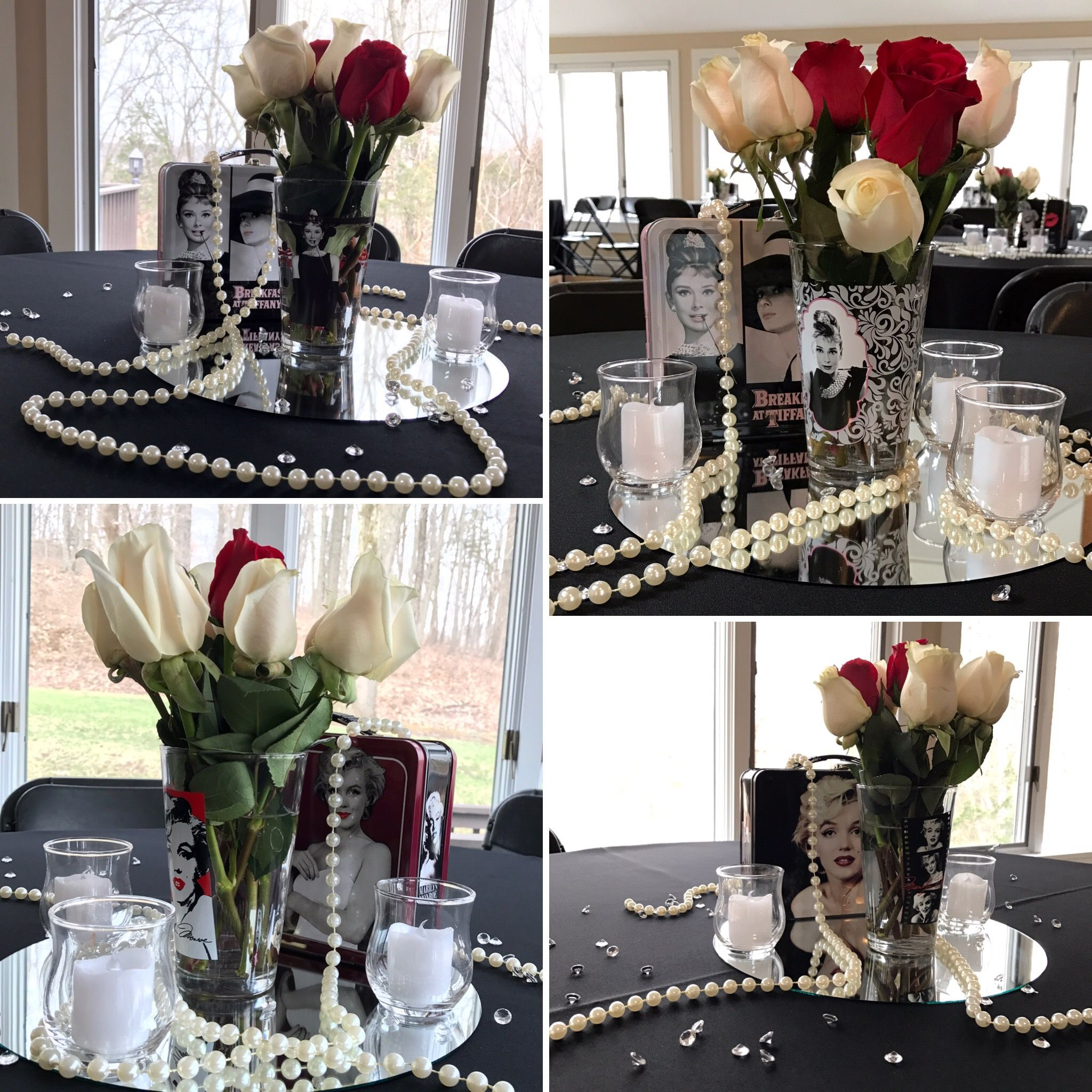 Table Centerpieces For Hollywood Glam Themed Bridal Shower