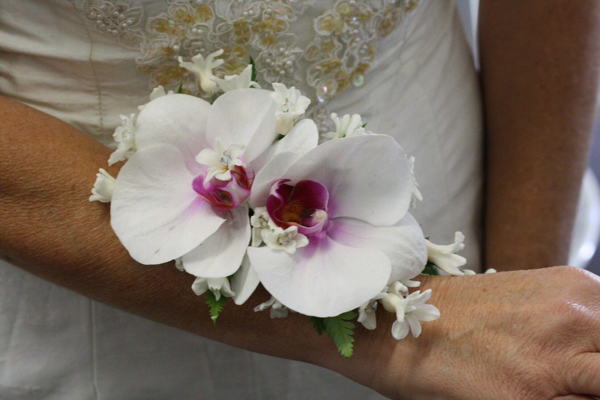 White/Fuchsia Phalaenopsis Orchids + White Hyacinth Wrist Corsage