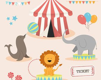 "Circus clipart: Digital circus clip art pack ""CIRCUS CLIPART"" for scrapbooking, card making, invites"