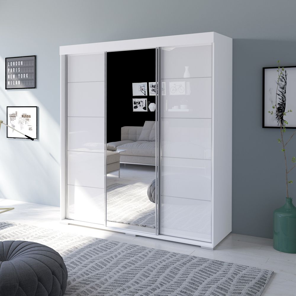 Aria 71 WH Mirrored/White Wardrobe