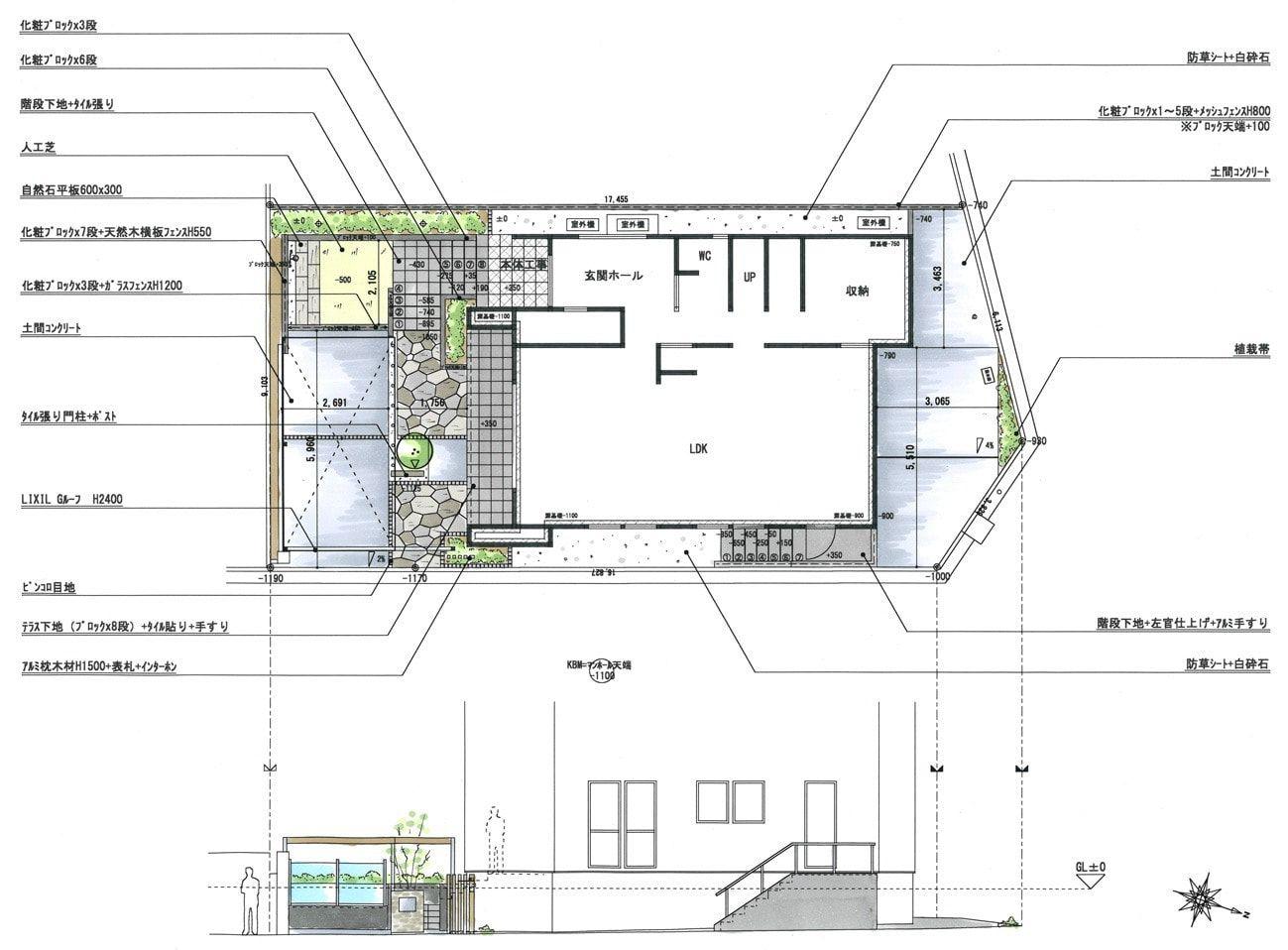 エクステリア 外構の平面図と立面図です 近年 カーポート屋根は