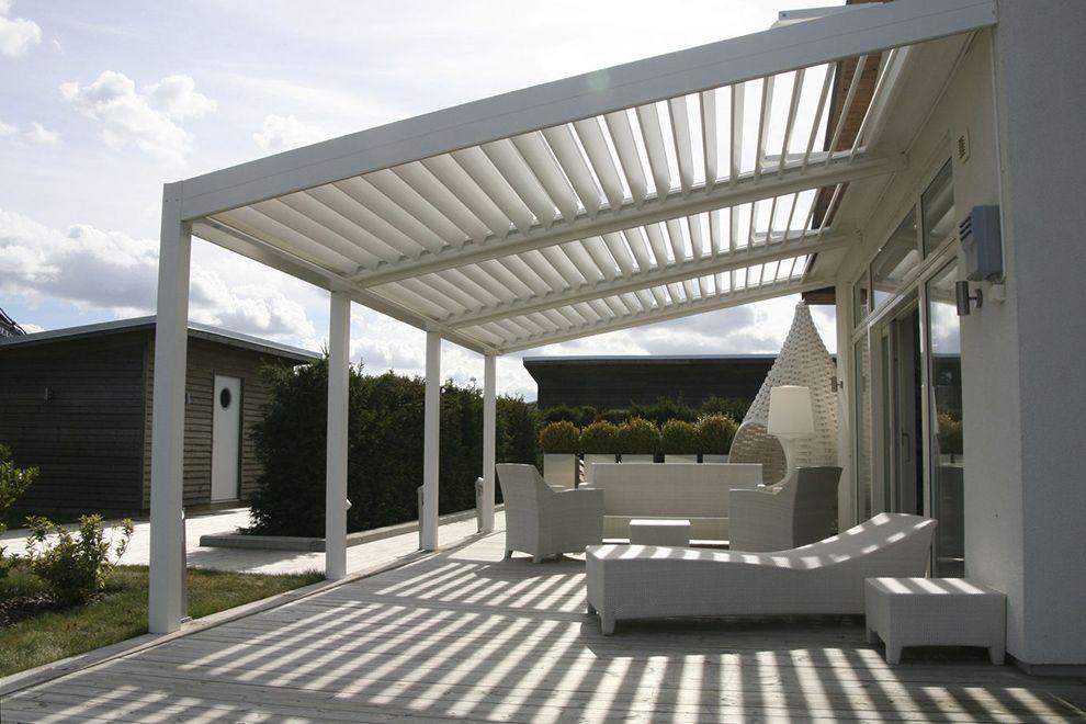 Roof Design Ideas: White Modern Vinyl Pergola Design For Patio Complete With