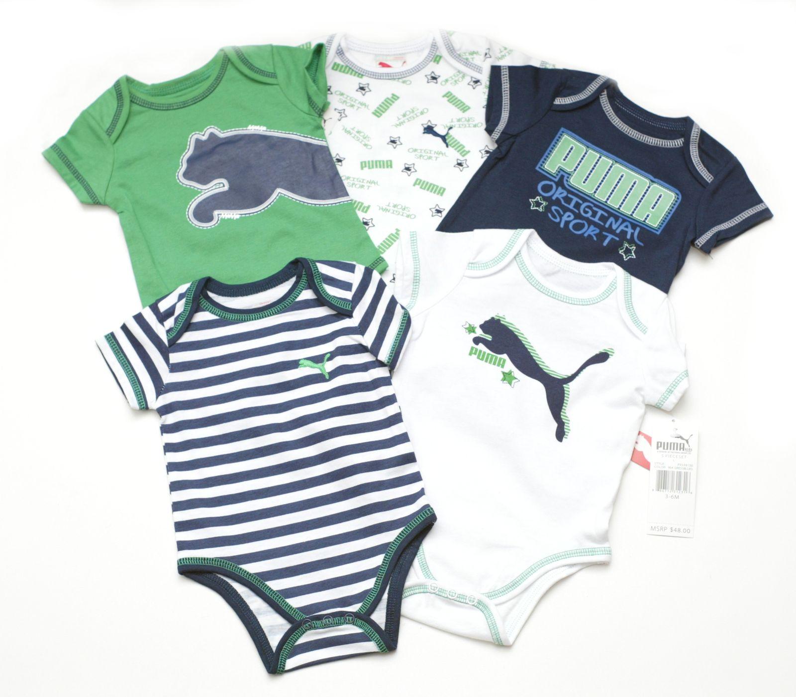97775e04d Puma Infant Baby Boys 5 Piece Bodysuit Romper One Piece Outfit Set Green