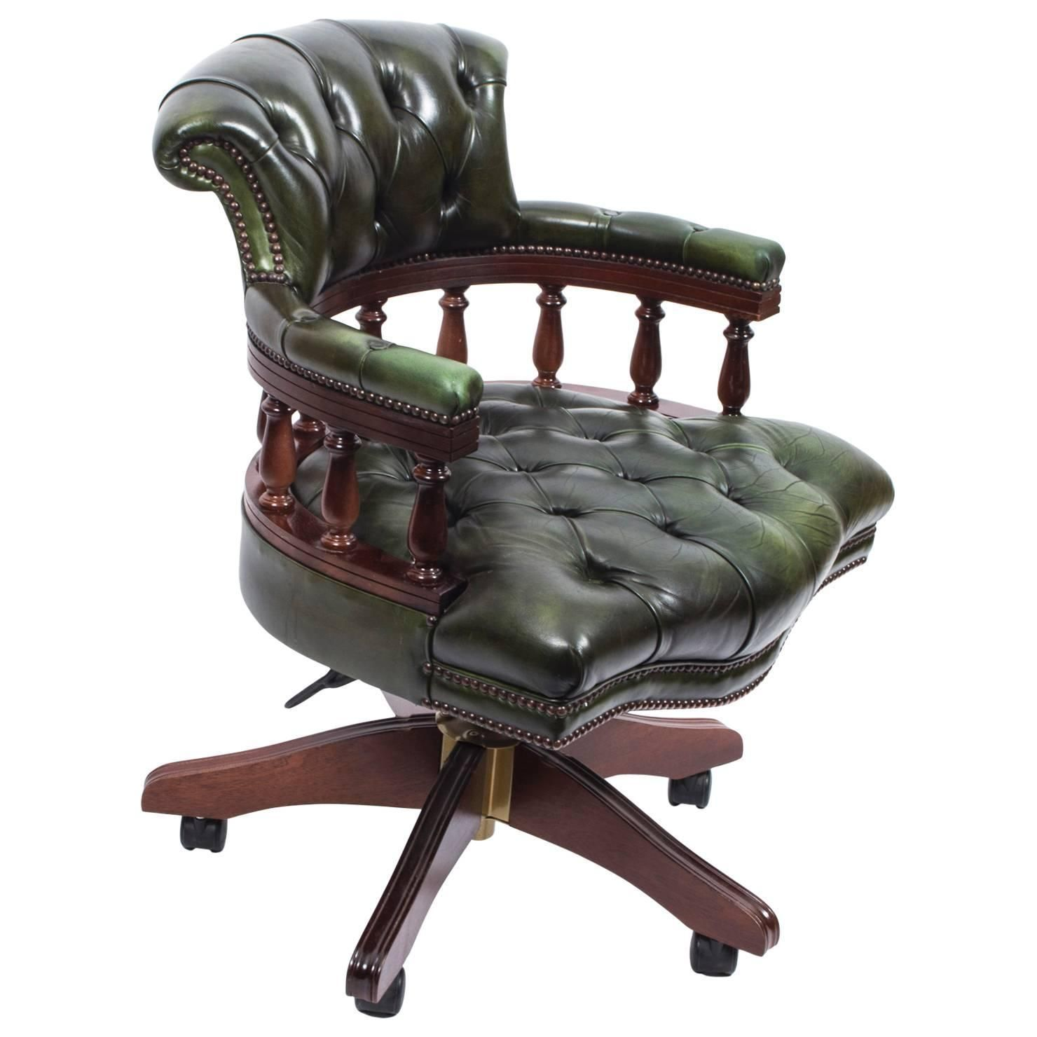 English Handmade Leather Captains Desk Chair Green  Desk chair