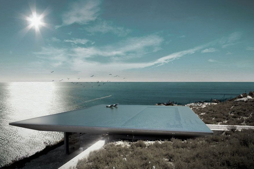 diese traumvilla hat einen pool als dach infinity pool unsichtbar und dachs. Black Bedroom Furniture Sets. Home Design Ideas