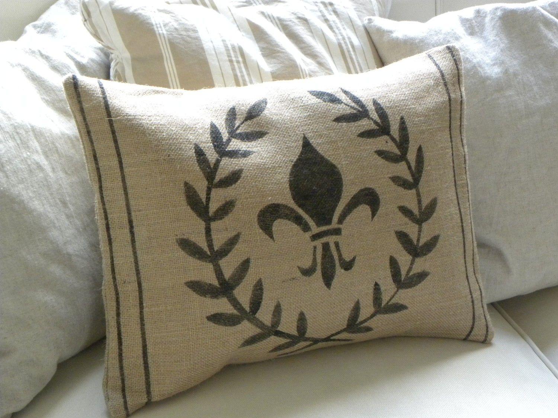 Burlap Laurel Wreath And Fleur De Lis Pillow Cover By Thenestuk 26 50