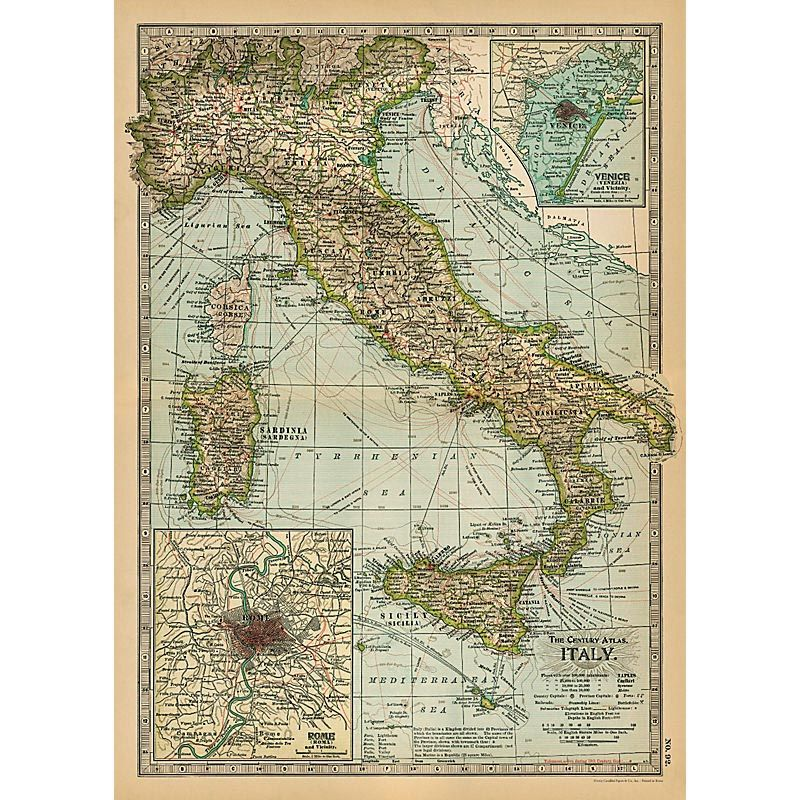 Affiche Carte de l'Italie. Poster, papier cadeau, une belle