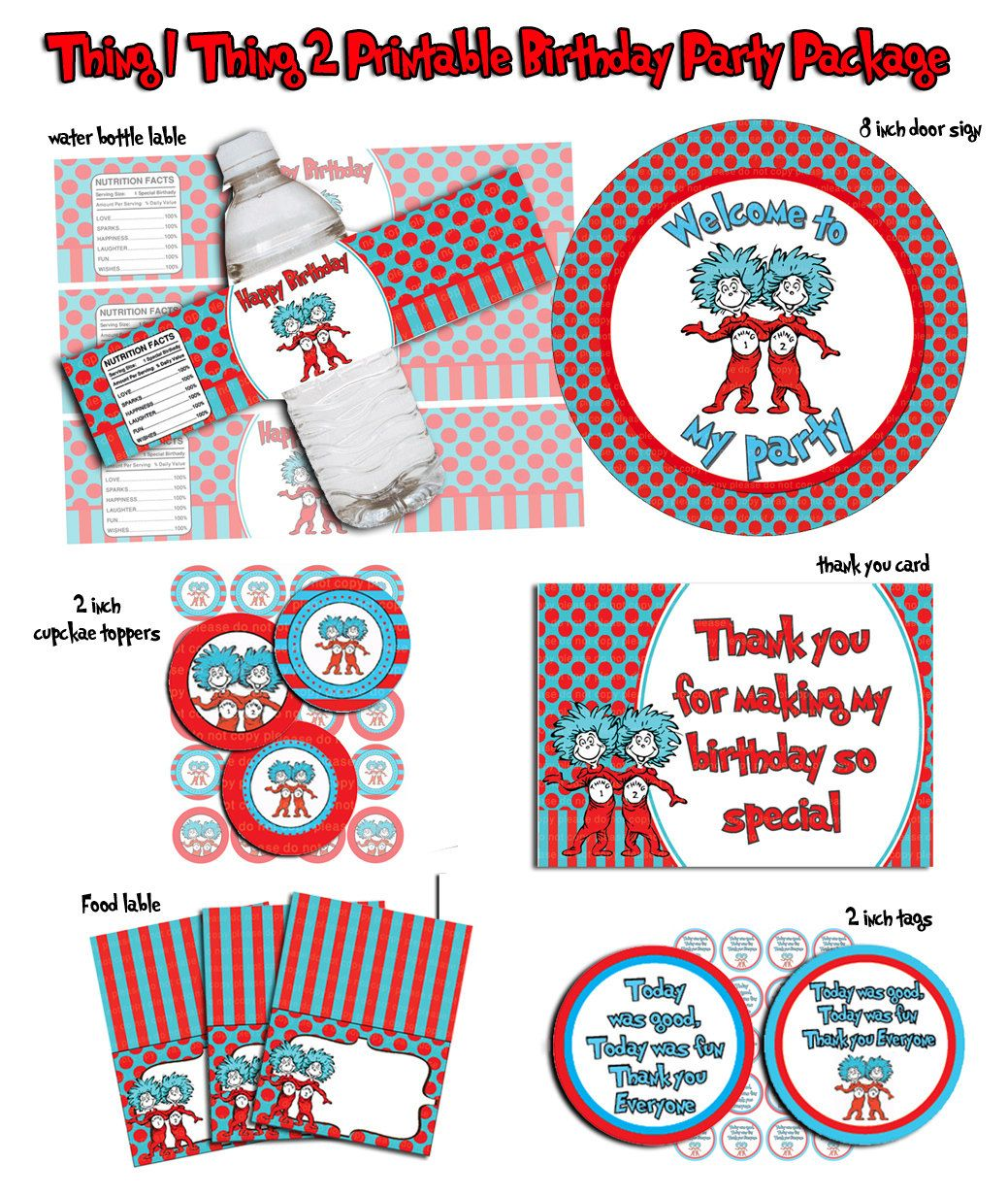 Thing 1 Thing 2- Printable Birthday party Package, water ...