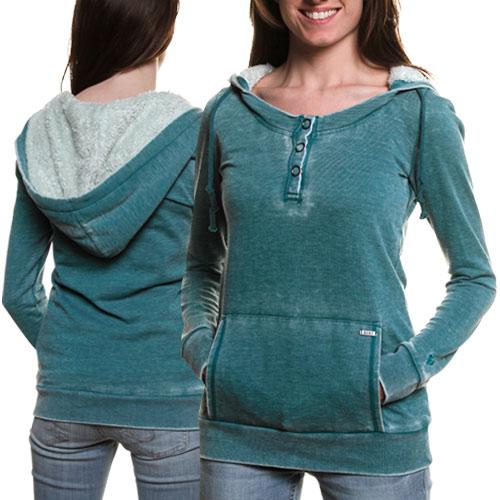 Roxy Ice Cap Juniors Burnout Henley Pullover Hoodie Sweatshirt Navajo Teal