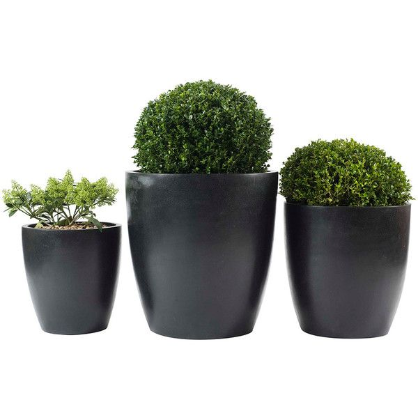 PR Home Cone Planter Set Of 3 (€245) ❤ liked on Polyvore featuring home, outdoors, outdoor decor, fillers, black, outside planters, outdoor garden decor, black planters, outdoor planters and garden decor