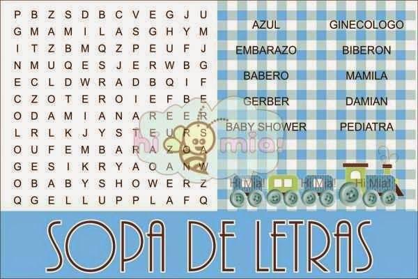 Juegos para baby shower crucigrama sopa de letra | sopas de letra de ...